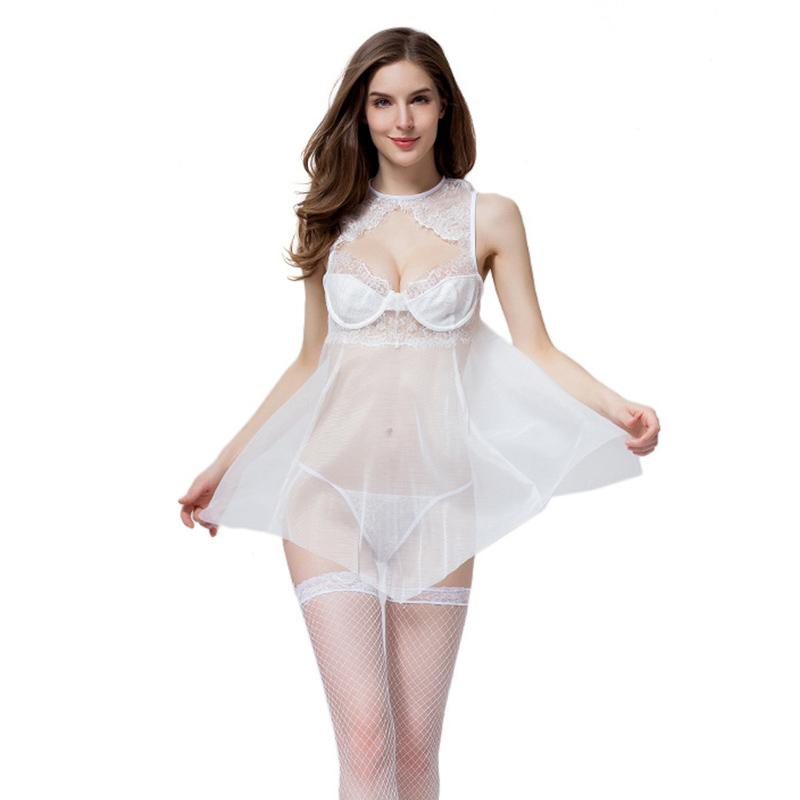 9cb28e62e082 2019 Women Underwear Sexy Lingerie Hot Erotic Sleepwear Transparent  Babydoll Lace Sex Night Sleep Wear Nightgown Clothes From Nakewei
