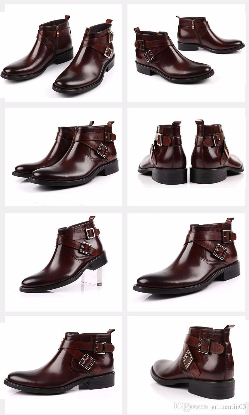 GRIMENTIN Heißer Verkauf Marke Herren Stiefel aus echtem Leder Doppel Schnalle schwarz braun Männer Stiefeletten für italienische Mode Männer Kleid Schuhe Größe: 38-46
