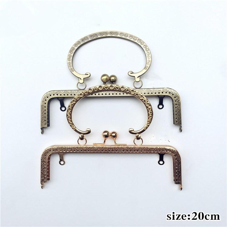 2a302dcdf4 2019 Vintage 20cm Square S Embossing C Shape Handle Metal Purse Frame Kiss  Clasp DIY Kiss Lock Bag Accessories Bronze Gold From Snowmen
