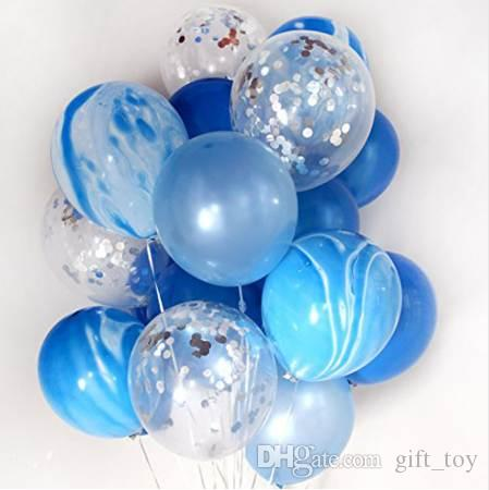 12 Marble Confetti Balloons Bouquet Clear Latex Baby Shower Birthday Wedding Party Decoration Photobooth Big Helium Balloon