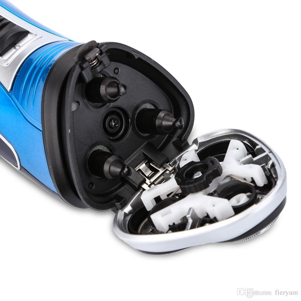 Kemei 220V Rechargeable Electric Shaver 3D Triple Floating Blade Heads Shaving Razors Face Care Men Beard Trimmer Barber Machine