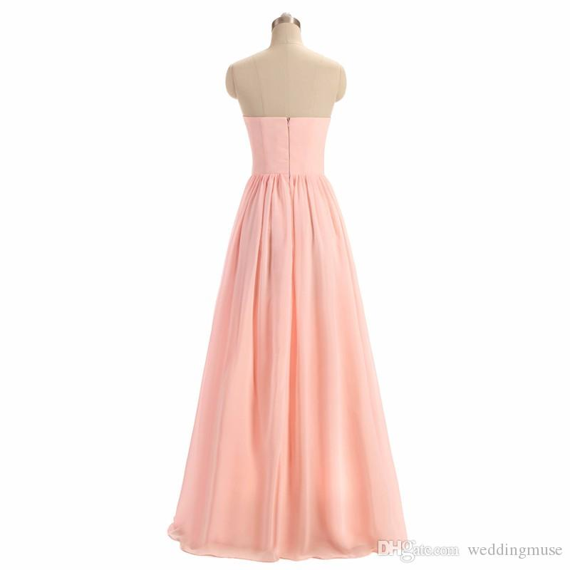 Women BRIDESMAID DRESS 2019 Light Pink A-Line Lace Illusion Neckline Sleeveless Long Maid Honor Special Occasion Dresses For Wedding
