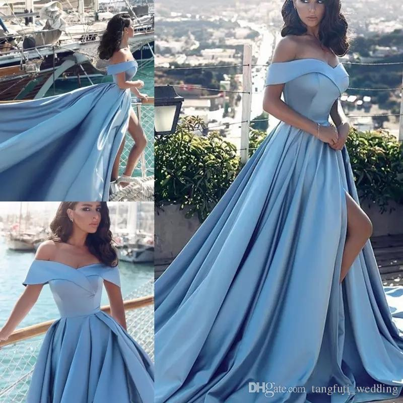 2018 Off The Shoulder Simple Prom Dresses Sky Blue High