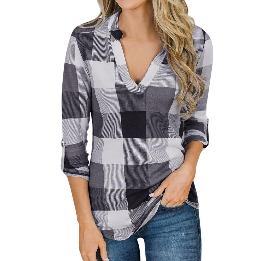 V Neck Womens Shirts Blusas Mujer De Moda 2019 Female Blouse Shirt Short Sleeve Plaid Casual Blusa Feminina Lady Clothing To Have A Unique National Style Women's Clothing