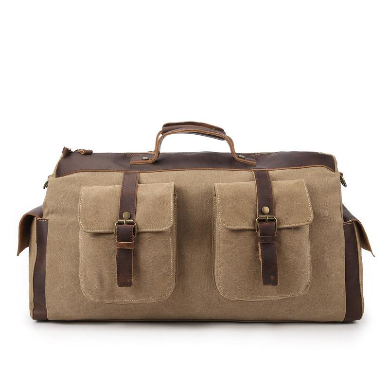 New Extra Large Canvas Bag Retro Crazy Horse Leather Big Bag Short Trip  Travel Thick Washed Canvas Men Travel Bags Cheap Travel Bags New Extra Large  Canvas ... 05d8d425211bd