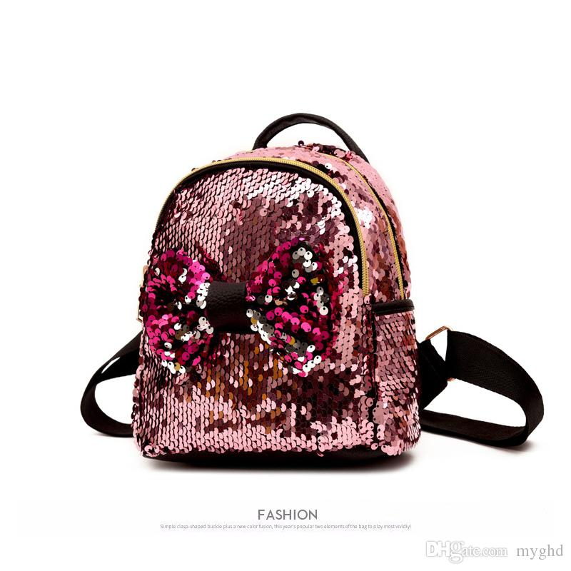 2018 NEW Shinning Bling Sequins Cute Big Butterfly Backpack for ... 2e7e0290fe66