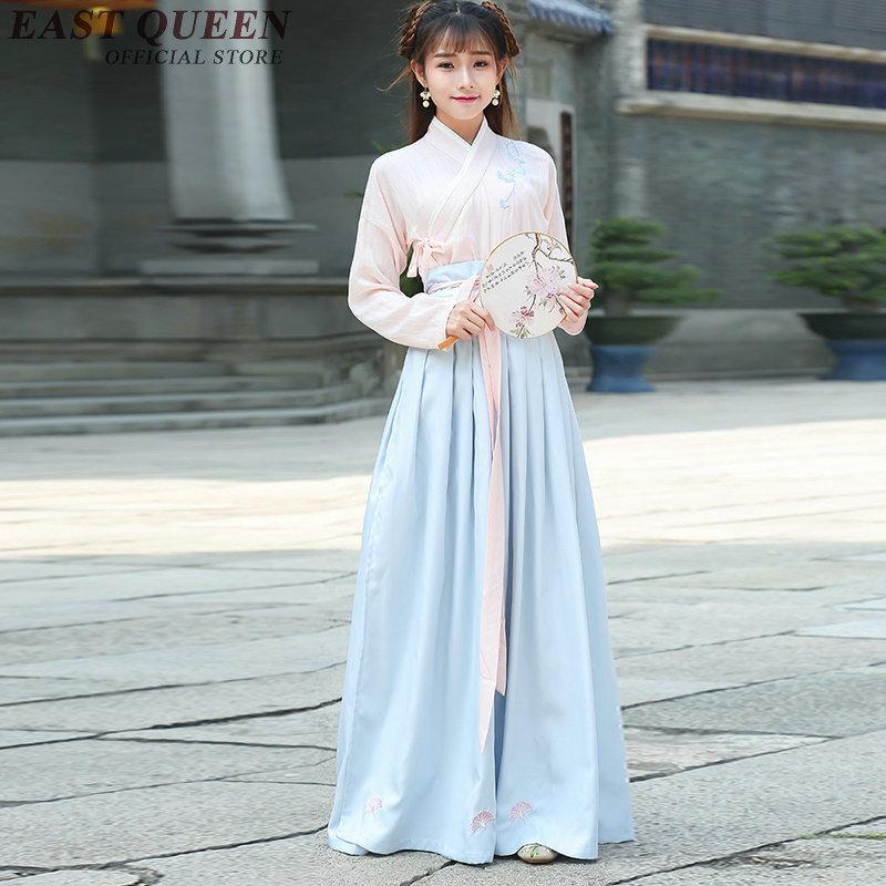 9f60d4bbbc14 Acquista Cinese Tradizionale Abito Femminile Cinese Abiti Orientali Han  Dinastia Due Pezzi Vestito A Maniche Lunghe Vestiti Di Lino KK831 YQ A   72.51 Dal ...