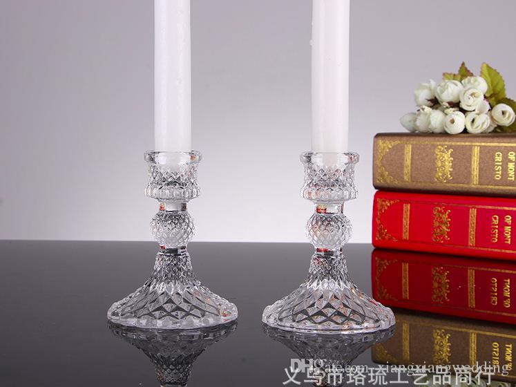 Candelabro de vidrio de cristal Candelabro del pilar para la decoración del hogar Las fiestas de boda Regalos creativos Estilo europeo de dos tamaños
