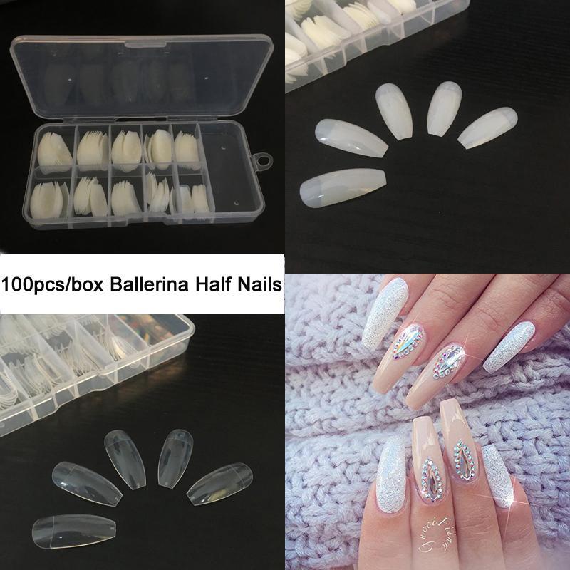 Tkgoes Box Ballerina Half Nail Tips Natural/Clear Coffin False Nails ...
