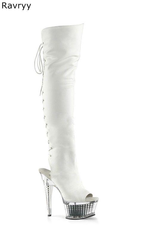 bc0d8c145 Compre Otoño Moda White Cross Atado Mujer Bota Larga Plataforma Tacón Peep  Toe Mujeres Hasta La Rodilla Botas Mujer Actuando Show Club Partido Zapatos  A ...