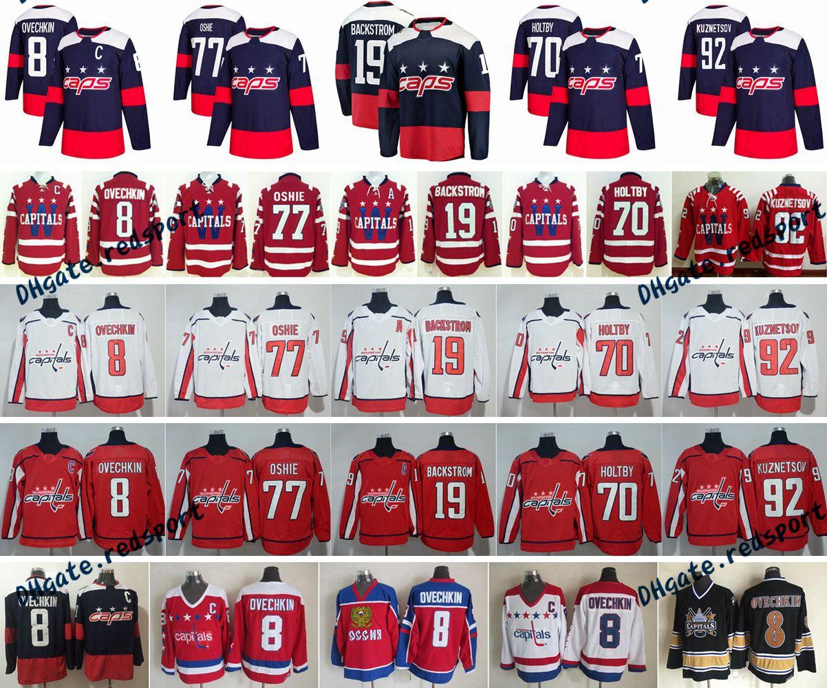 2018 Stadium Series Washington Capitals 8 Alex Ovechkin 77 TJ Oshie 92  Evgeny Kuznetsov 70 Braden Holtby 19 Nicklas Backstrom Hockey Jerseys Alex  Ovechkin ... 88be39744