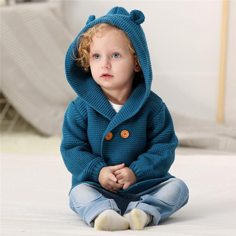 Fowech Autumn Baby Boys Knitted Cardigan Warm Clothes Solid Color