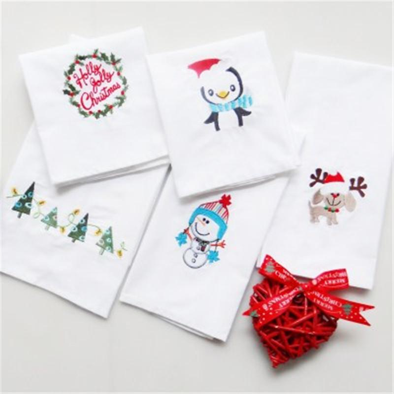 2018 6 styles thick waffle christmas embroidered tea towels table napkins cotton white home cloth kitchen cloths from linmanflower 37 dhgatecom - Christmas Napkins Cloth