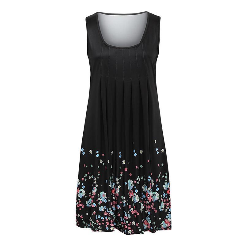 7c847112e3f Women Casual Sleeveless Dress Floral Print Draped A Line Dress 2019 Summer  Beach Sundress Flower Print Shift Tank Dress Female Gold Summer Dresses  Junior ...