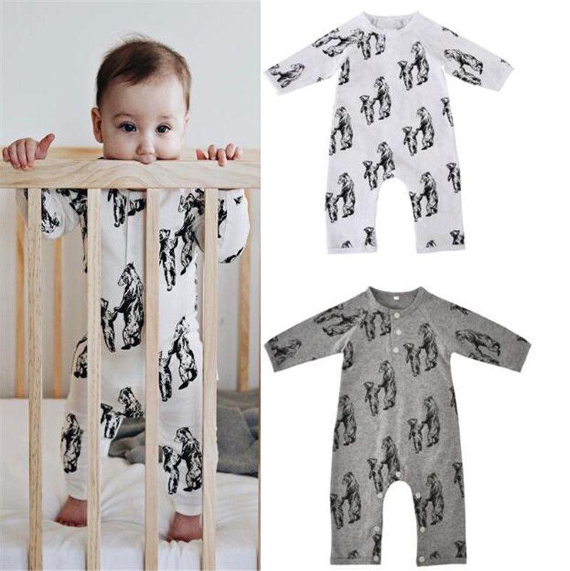 088221779eec 2019 Ins Animal Jumpsuit Newborn Baby Boy Clothing Sleepwear Long Sleeve  Cartoon Mother Baby Bear Print Cotton Autumn Winter 0 12months B11 From  Start baby