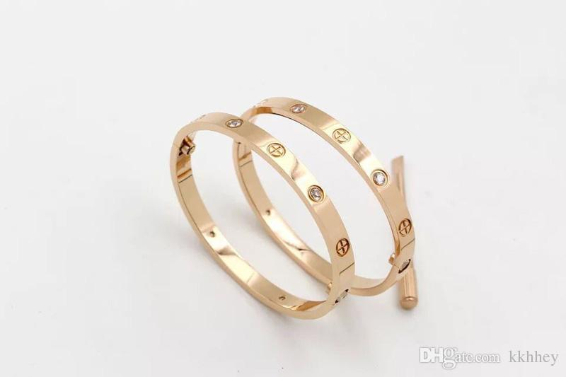 AAA quality luxury brand classic style 18k gold plated 316L stainless steel screw bangle bracelet with screwdriver for women and men gift