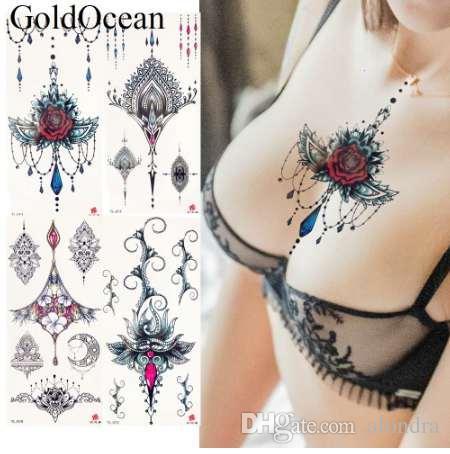 Großhandel Mode Sexy Anhänger Rote Blume Flash Tattoo Aufkleber