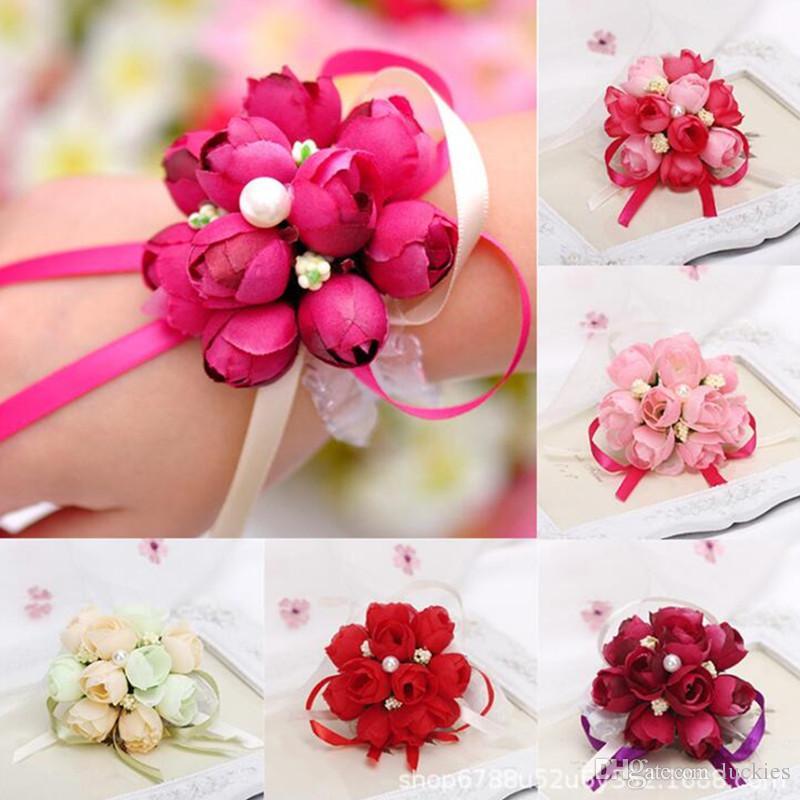 Clothing, Shoes & Accessories 5pcs Wrist Flower Rose Silk Ribbon Bride Corsage Hand Flower Decorative Wristband Bracelet Bridesmaid Curtain Band Clip Bouquet