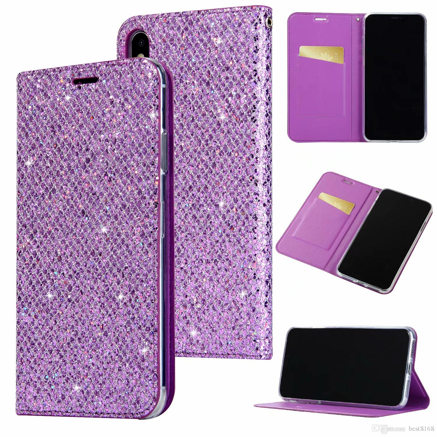 54b010f7d1c80 Bling Sparkle Leather Wallet Case For Iphone XR XS MAX X 10 8 7 6 SE 5 5S  Galaxy Note 9 8 S9 S8 Glitter Magnetic Closure Suck Flip Cover Cell Phone  ...