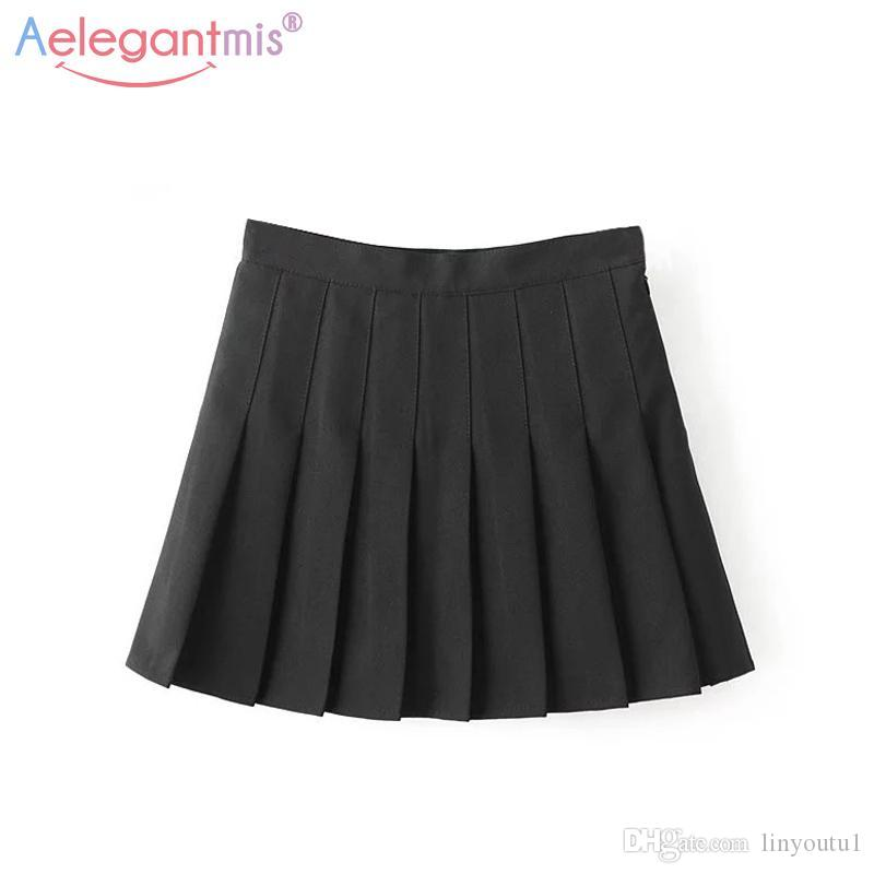 99bf33e9ed7d 2019 Aelegantmis Sweet Lolita Denim Pleated Skirt Women Cute High Waist  Mini A Line Sailor Skirt Harajuku School Girls Uniforms Skirt From  Linyoutu1, ...
