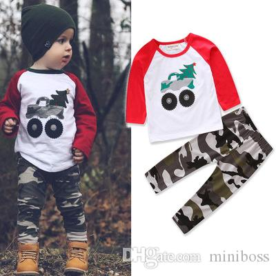 Ins Baby Boy Christmas Outfit 1-5 Year Boy Xmas Clothing Set Cotton Top + Camo Pants Children two-piece set 4 colors