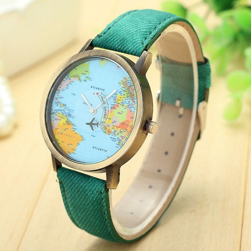 03e458e4f32 Compre FUNIQUE Bronze Mapa Do Mundo Vôo Avião Relógio De Viagem Mundo Denim  Strap Relógios De Quartzo Mulheres Vestido De Relógio De Pulso Presentes De  ...