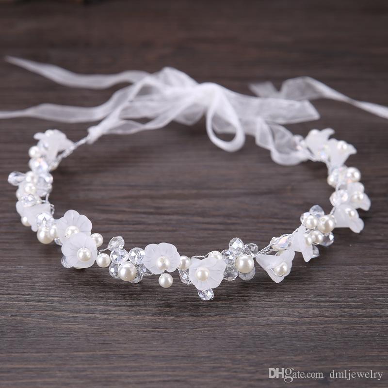 Gümüş Kristal Inciler Gelin Başlıklar Çiçek Düğün Bantlar Tiaras Kadınlar Saç Bandı Headdress Kız Bebek Şapkalar Elbise Saç Aksesuarları