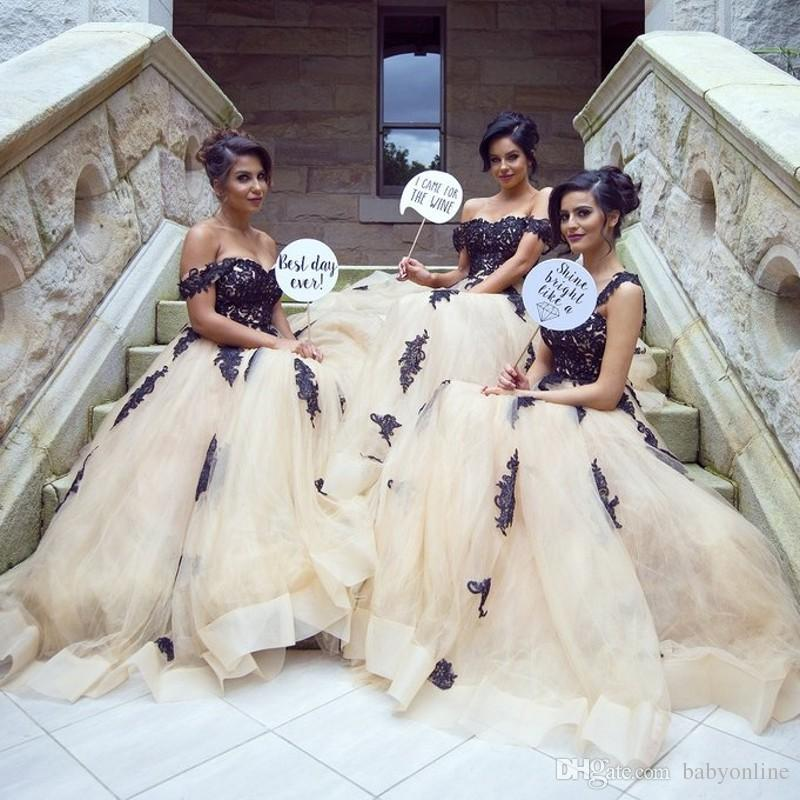 a90025d80d1fce Modern Champagen With Black Appliques Bridesmaid Dresses Arabic Dubai  Styles A Line Off Shoulders Tulle Long Maid Of Honor Gowns White Bridesmaid  Dresses ...