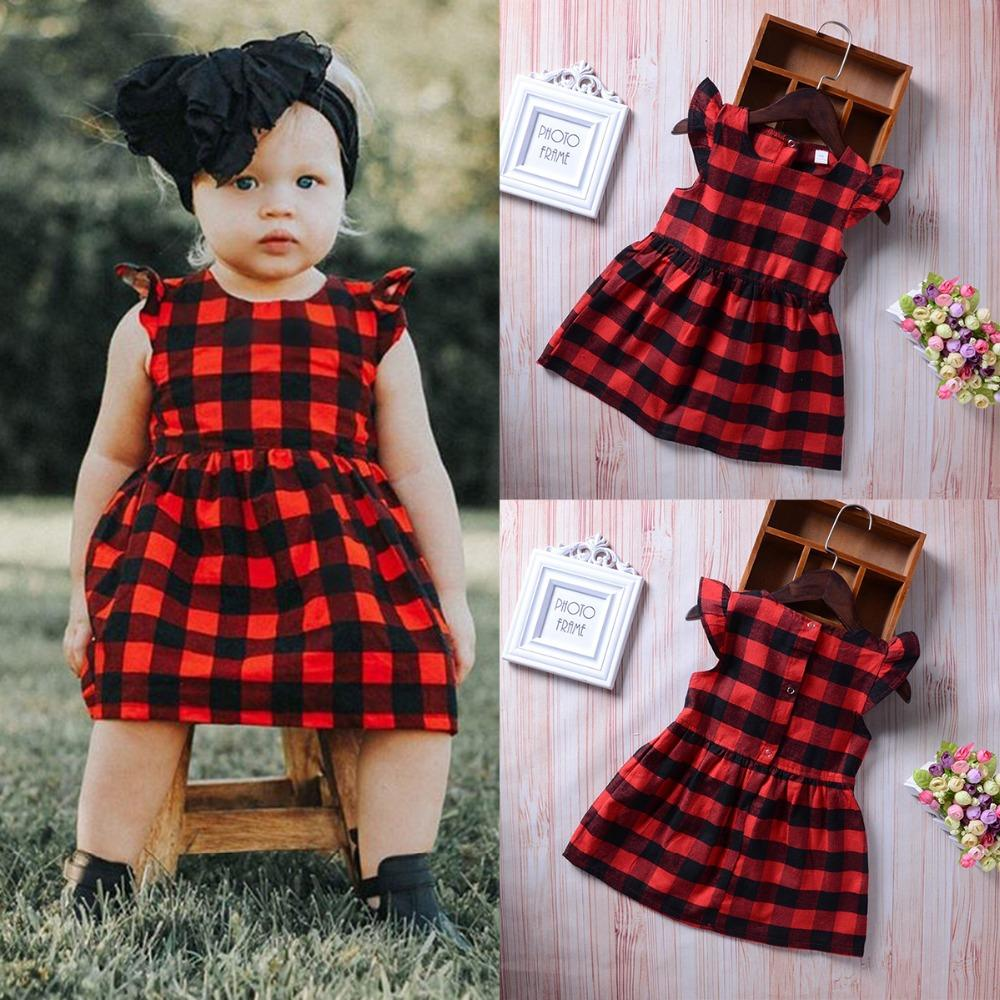 5338721961f 2019 Puseky Newborn Toddler Girls Dress Clothing Summer Ruffles Sleeve Red  Plaid Princess Casual Outfits Baby Kids Sundress Clothes From Henryk