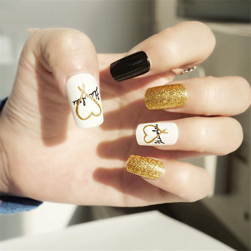 Bling Bling False Nail With Designs Long Fake Nails Golden Uv