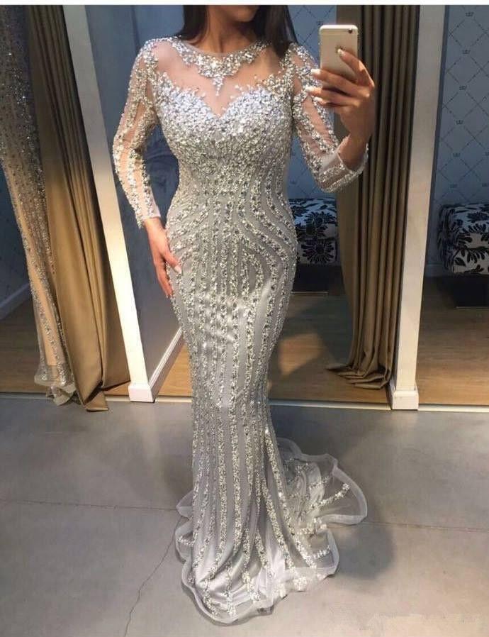 Imagem Real Sparkly Sliver Beading noite de cristal vestidos vestir Illusion Jewel Neck mangas compridas Zipper Voltar longo Mermaid Prom Party Vestidos