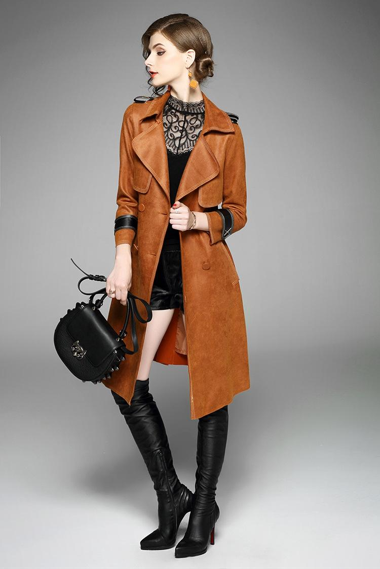 detailed look 463b1 974c8 Elegant Trench Coat for Women 2017 Brand Fashion Autumn Winter Trench Long  Sleeve Vintage Suede Leather Windbreaker Outerwear
