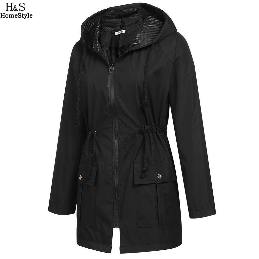 Noir Pluie Longues Bleu De Légère Manteau Jaune Manches À Imperméable Veste Capuche Pour Femmes Sport Zippée Marine dCorxBe