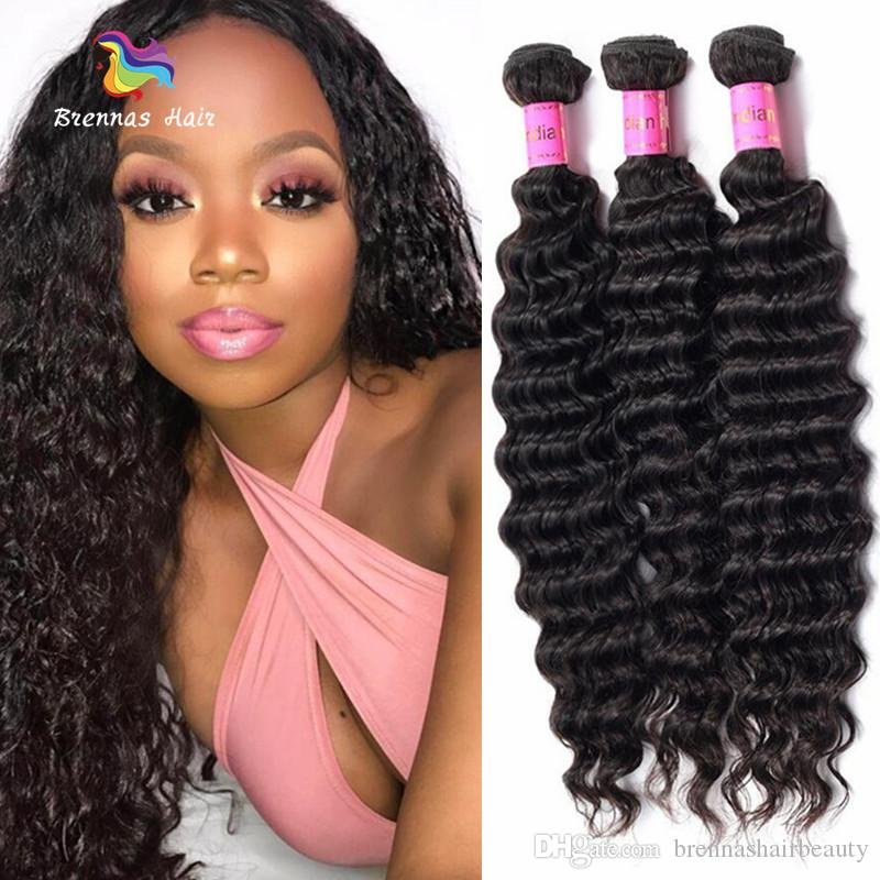 Indian Deep Wave Virgin Remy Hair Bundles 100g Pc 100% Original Human Hair  Weave Bundles Double Weft  1B For Black Women Cheap Human Hair Weft Human  Hair ... b941cae2e2