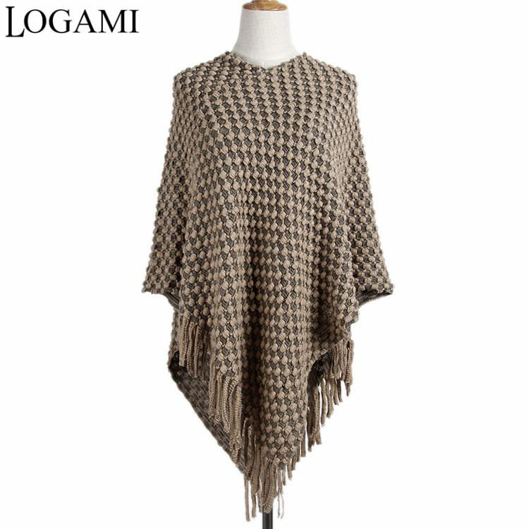 Acquista Logami Ladies Poncho Coats Knitting Poncho Donne Poncho All