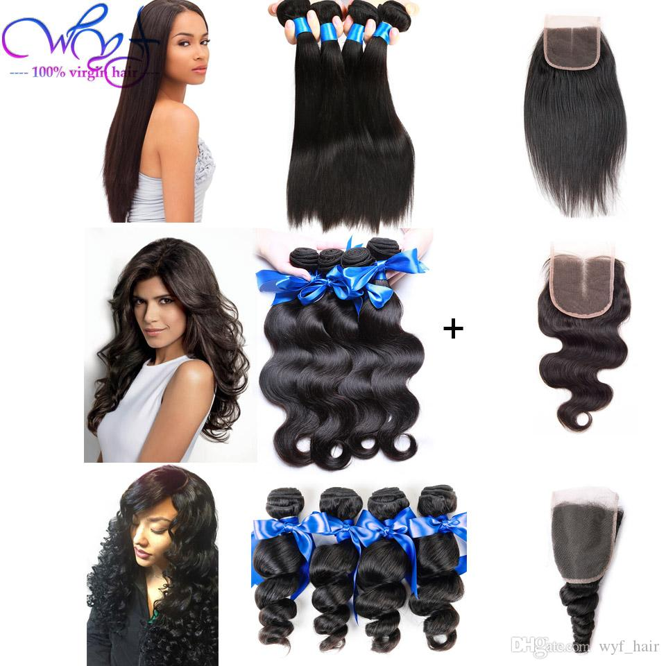 2018 Good Quality Brazilian Human Hair Weave Extensions With 1 Actwell D3 Straight Body Wave Loose Bundles Closure 100 Unprocessed From Wyf
