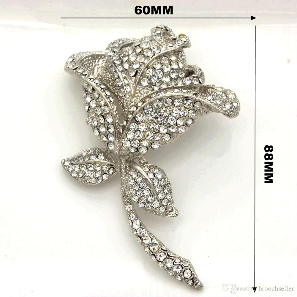 Extra Large Rhodium Silver Tone Sparkly Rhinestone Crystal Beautiful Rose Flower Wedding Bouquet Wedding Brooch Vintage