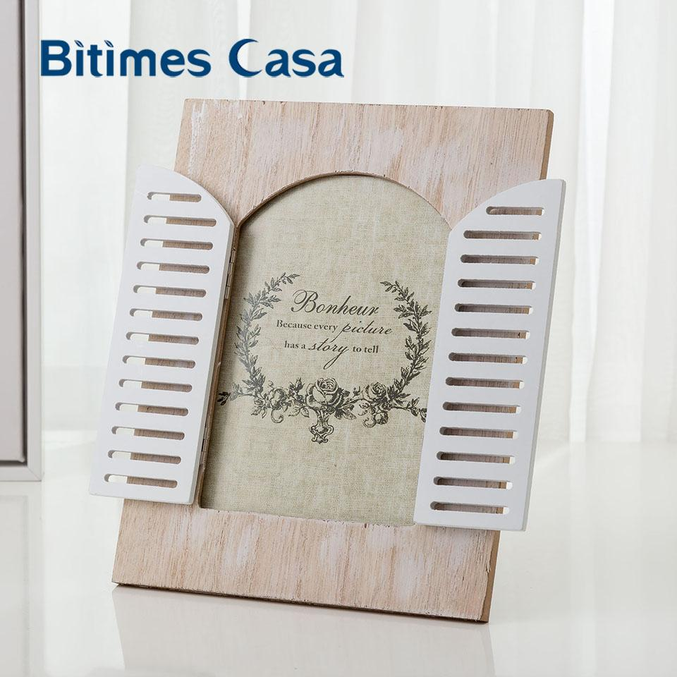 Bitimes Vintage Wood MDF Photo Frame With Window Home Decoration ...