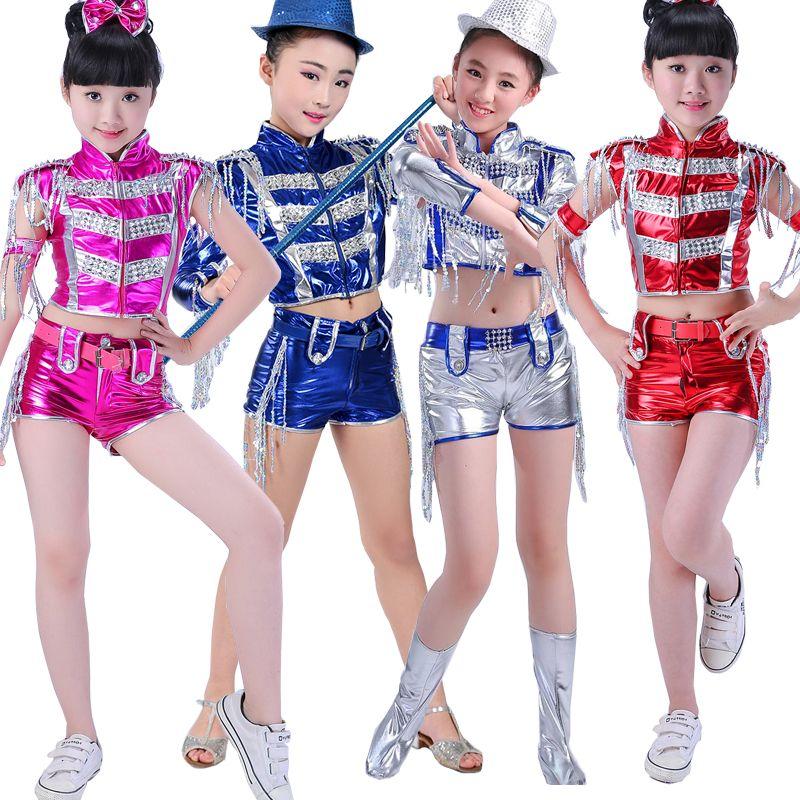 Compre Kids Stage Trajes De Baile Moderno Salón De Baile Para Niñas Jazz  Bailar Tops + Pantalones Chicas Niños Con Lentejuelas Borlas Hip Hop Trajes  De ... f1b439892a4