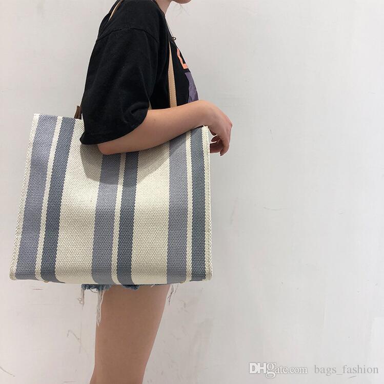 1364c7ae98 2018 Fashion Canvas Unisex Stripe Women Zipper Handbag Strap Coffee  Shopping Bag Shoulder Bag Lady Bags Tote Handbag Hobo Bags Designer Bags  From ...