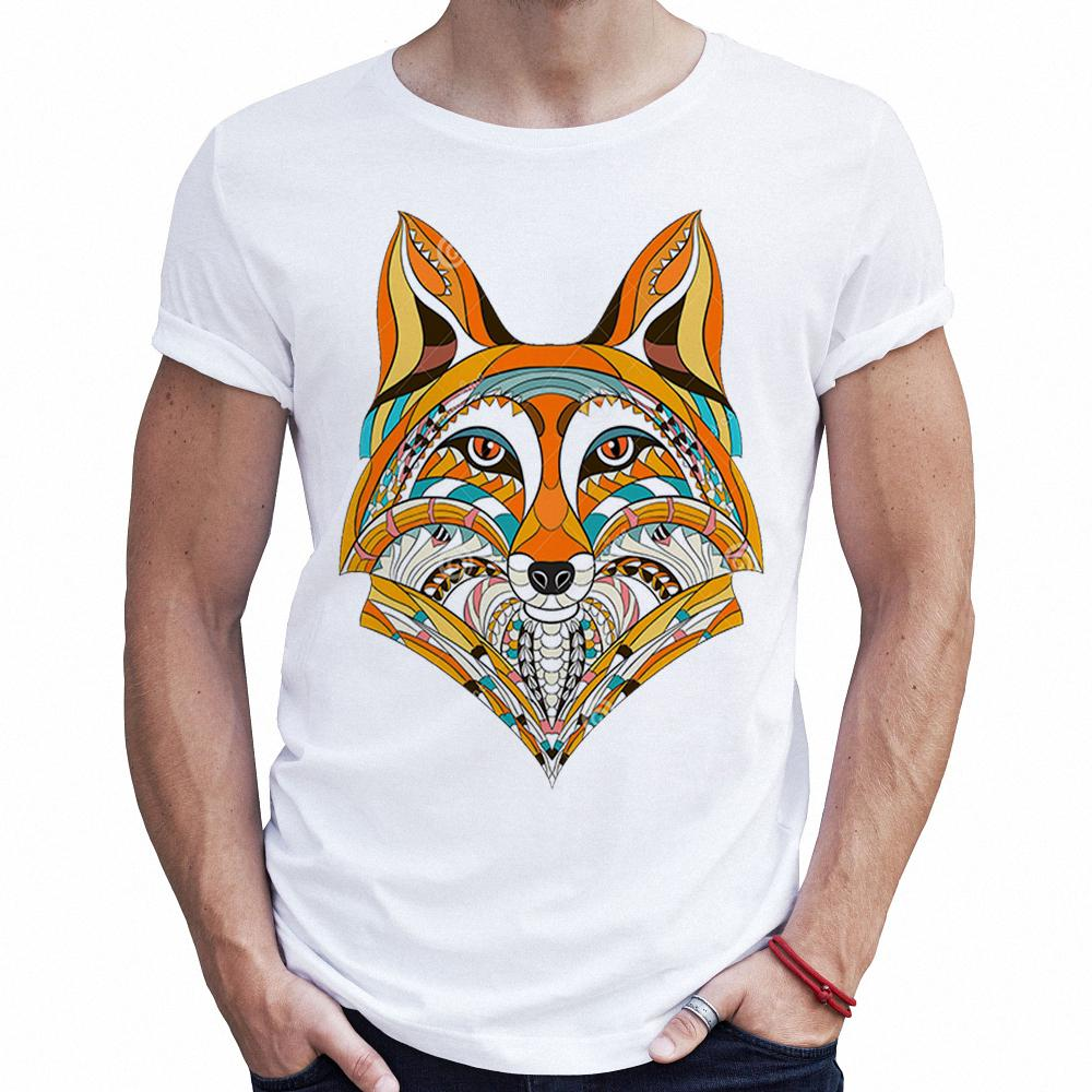 e963ae6d32f1 2018 New Arrivals Fashion Man T Shirt Patterned Colored Head Of The Fox  Wolf African Indian Design T Shirt Fitness Graphic Tees Raid Shirt T Shirts  In A Day ...