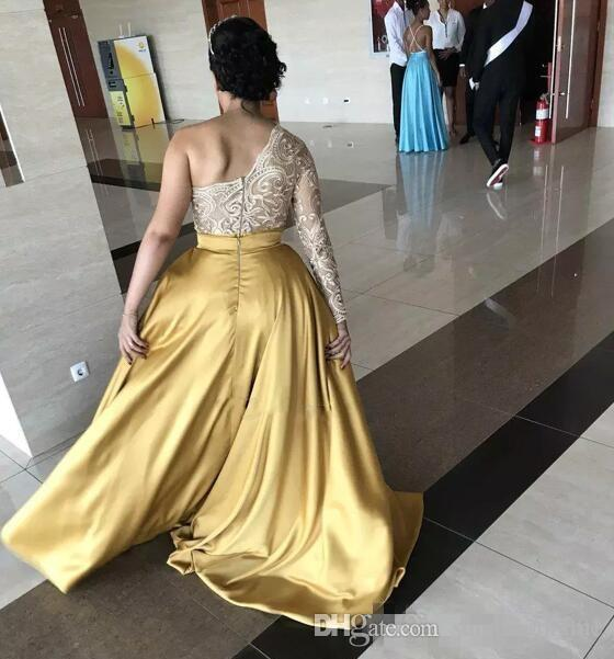 One Shoulder Front Split Evening Dresses Lace Top Satin Skirt Long Sleeves Prom Dress Long Zipper Back Plus Size Formal Party Gowns