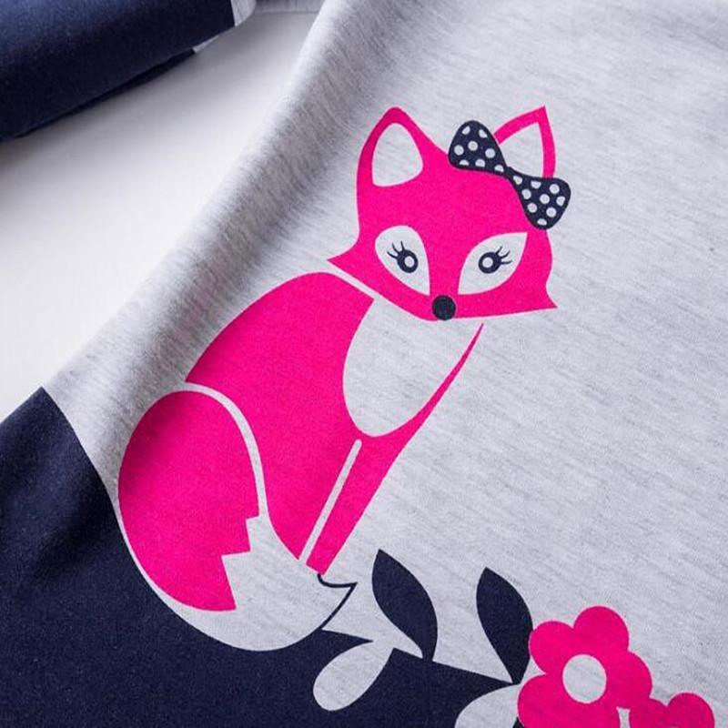 2017 nova primavera outono meninas vestidos de crianças de algodão de manga longa super bonito fox impressão vestidos de princesa dress para menina crianças