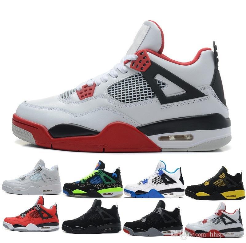 quality design 08c95 017f8 Acheter Nike Air Jordan 4 Aj4 Retro Classique 4 4s Eminem Encore Pure  Argent Blanc Ciment Redevancé Toro Bravo Thunder Vert Glow Chaussures 4 S  Mens ...