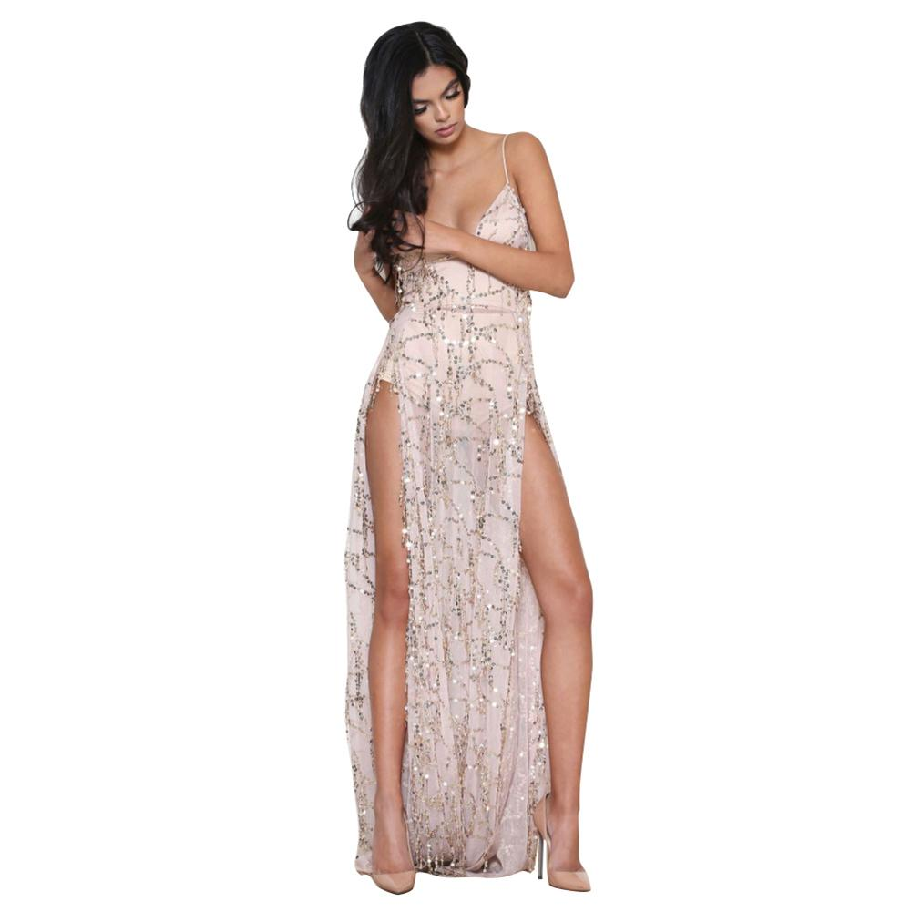 1f484a77b18 Sexy Women Sequin Long Maxi Dress Sheer Mesh Thigh Split Backless  Sleeveless Nightclub Party Dresses See Through Cami Dress Cocktail Night Dresses  Party ...