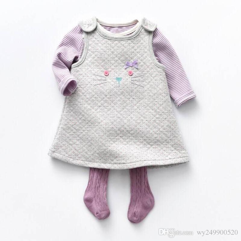 08d834989d5bf Acheter Ins Kid Mignon Pourpre Chat Enfant Robe Haber Collants Fille Trois  Pièces Costume Enfants Ensemble Livraison Gratuite De  27.14 Du Wy249900520  ...