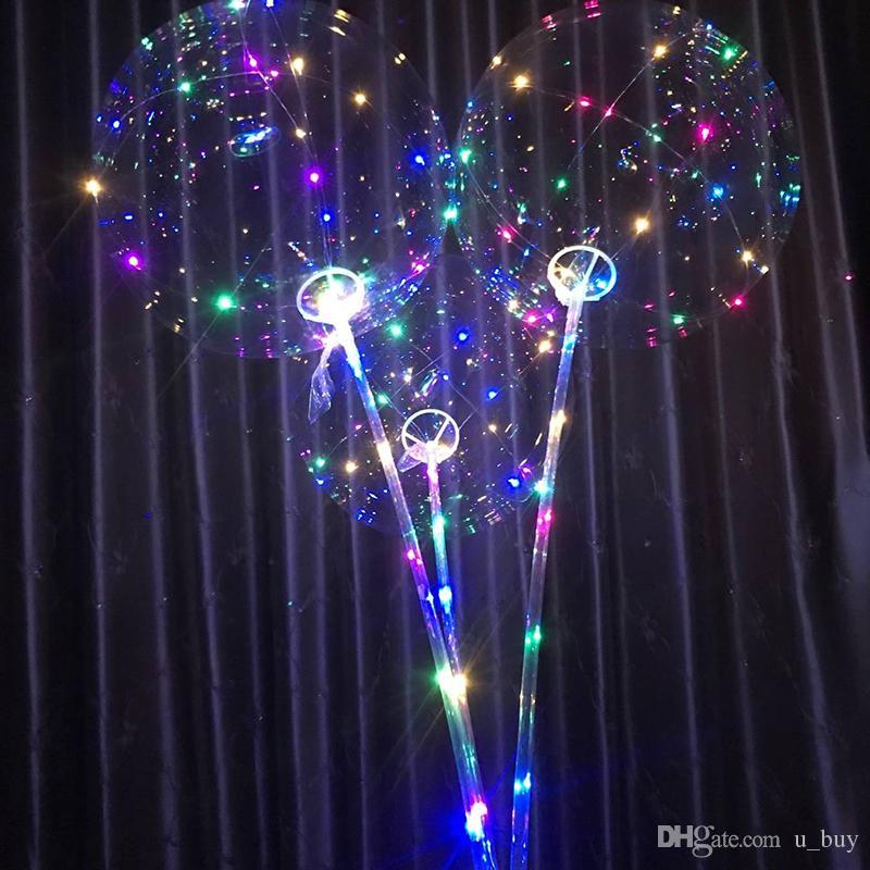 Nuovi palloncini luminosi LED con bastone gigante palloncino luminoso illuminato palloncino giocattolo bambini festa di compleanno decorazioni matrimoni