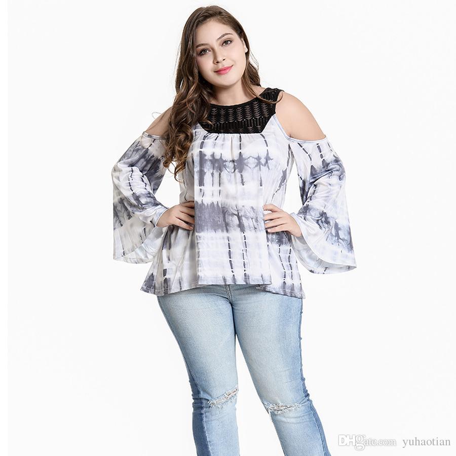 82b735da53a 2019 New Women Summer Lace Blouse Print Off Shoulder Sleeveless Top T Shirt  Plus Size Causal T SHIRT Xl 5xl From Yuhaotian