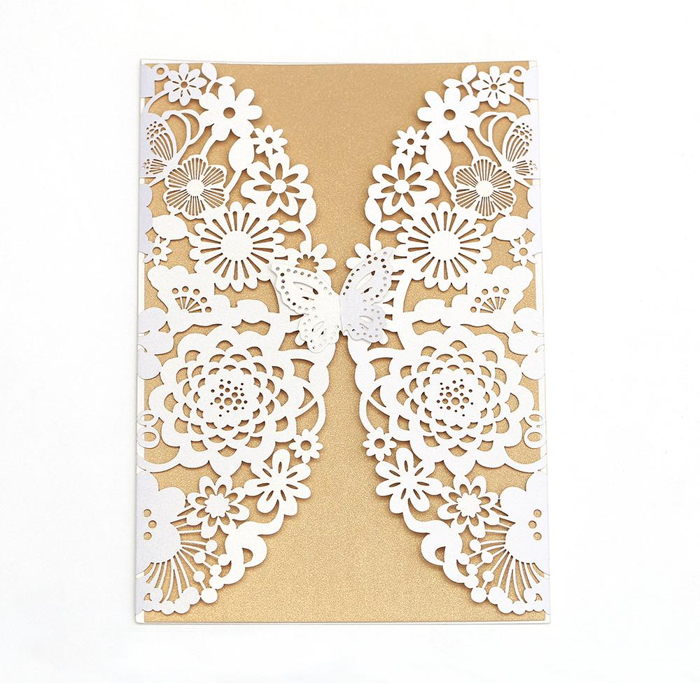 Butterfly Buckle Design Wedding Cards Invitation 2018 Laser Cut ...