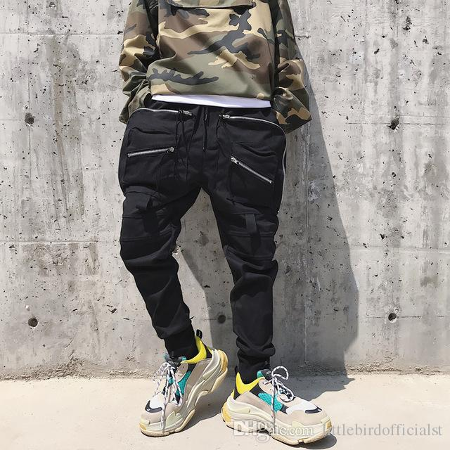 Grande Cargo Homme Hommes Streetwear Hop Poche Noir Mode Hip 2018 Pantalon Slim Fit Coton Joggers Décontracté Mens MSVzpU
